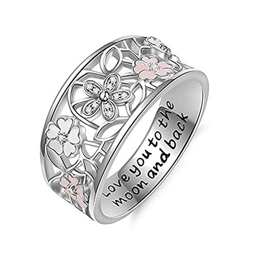 Windoson Cherry Blossom Diamond Ring Fashion Elegant Letter Love You to The Moon and Back Crystal Ring Wedding Jewelry for Women (10, Silver)