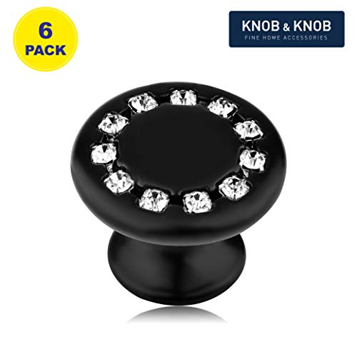 Round Cabinet Knobs Pull Handle with Crystal Strip,1.37