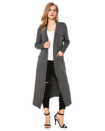 Mixfeer Womens Long Sleeve Open Front Long Maxi Cardigan Longline Duster Coat - Plus Coat Cotton Size