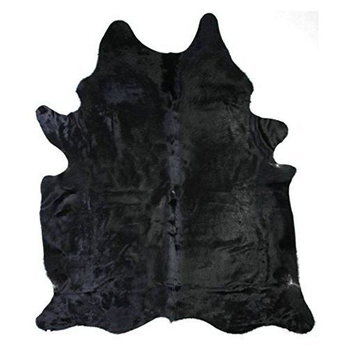 Solid Black Cowhide Rug - Large Cow hide Cow Skin Rug by AR HOME DECOR