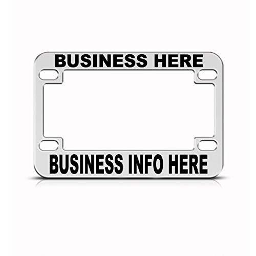 (Speedy Pros Custom Business Info Bike License Plate Frame Metal Tag Holder - Chrome 4 Holes )