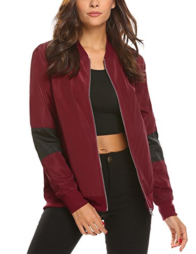 UNibelle Womens Zip Up Striped Satin Baseball Bomber Jacket Coat with Pockets,Large,Wine Red