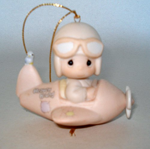 """Precious Moments Retired Boy Pilot Flying an Airplane """"Have a Heavenly Christmas"""" Ornament (#12416)"""