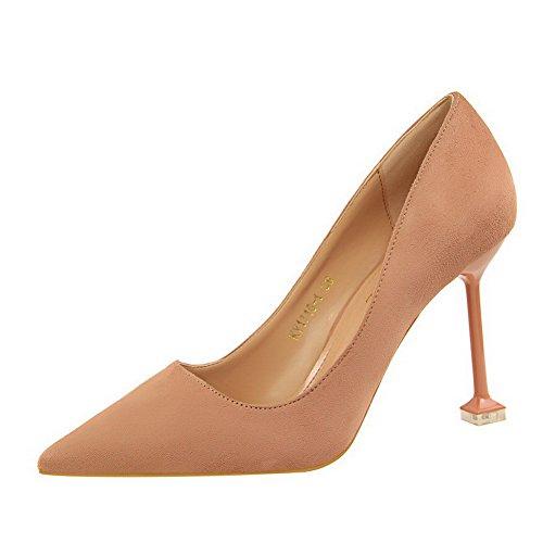 Aprikoosi Suljetun Naisten Pull kengät Mokka Allhqfashion Pumput Jäljitelty Korkokenkiä on Toe apqxw