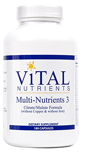 Vital Nutrients - Multi-Nutrients 3 Citrate/Malate Formula (Without Copper or Iron) - Comprehensive Multi-Vitamin/Mineral Formula With Potent Antioxidants in a Gentle Bioavailable Form - 180 Capsules