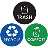 Pixelverse Design - Trash Can Recycle Compost Sticker Set - UV Indoor & Outdoors Kitchen Recycling Vinyl Decal - 6 Pack 4x4 Inches