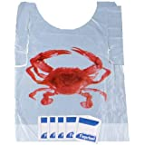 Crab Bib & Wet Wipe Bundle- 25 Disposable Bibs and 25 Moist Towelettes for Crawfish Boil, Seafood Fest, or Home Dinner…