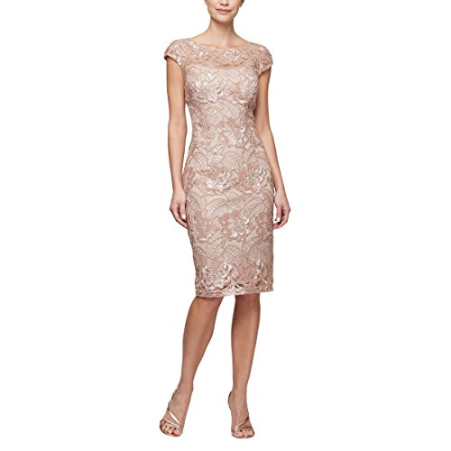 Alex Evenings Women's Midi Cap Sleeve Dress with Sequin (Petite and Regular Sizes), Rose Gold, (Evening Mother Of The Bride Dresses)