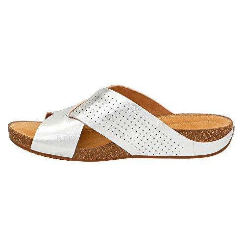 Clarks Perri 'Cove sandalias de cuña de la mujer Silver Full Grain Leather