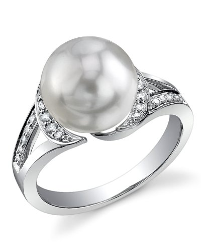 - 10mm White South Sea Cultured Pearl & Diamond Penelope Ring in 14K Gold