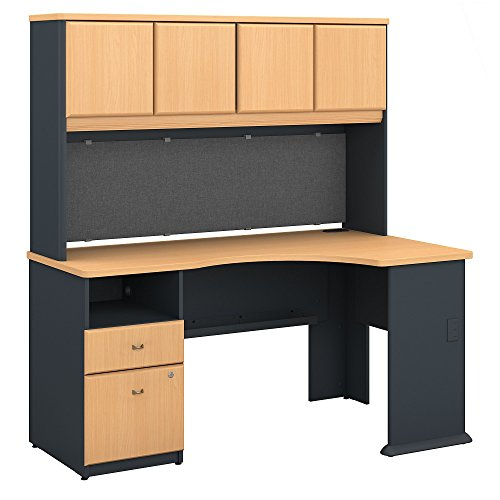 - Bush Business Furniture Series A 60W Corner Desk with Hutch and 2 Drawer Pedestal in Beech and Slate