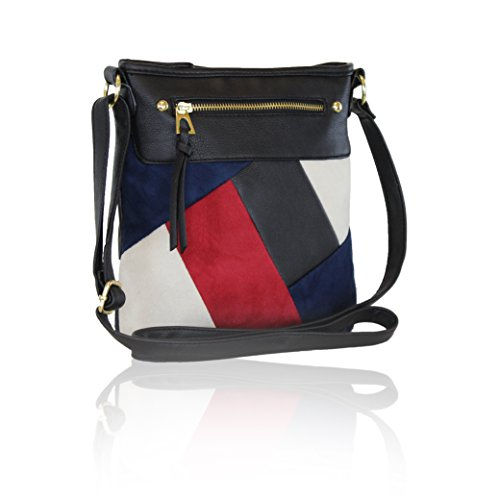 Black Trendy Multi-Color Crossbody Bag, Color Block Faux Suede Purse with Zip - Suede Utility Bag