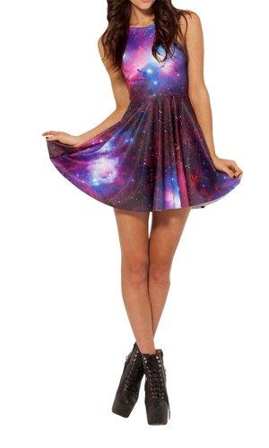 Amoluv Women's Pleated Knee-length Galaxy Purple pattern Reversible Skater Dress (Cute Halloween Dress)
