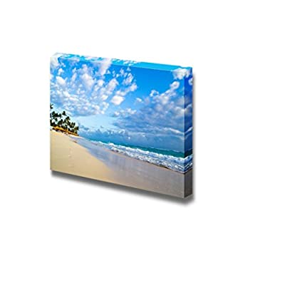 Canvas Prints Wall Art - Tropical Beach Getaway Under a Clear Sky | Modern Wall Decor/Home Decoration Stretched Gallery Canvas Wrap Giclee Print. Ready to Hang - 24