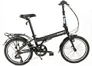 EuroMini ZiZZO Heavy Duty-300 lb. Load Limit - Forte 29 lbs Folding Bike-Lightweight Aluminum Frame, Genuine S