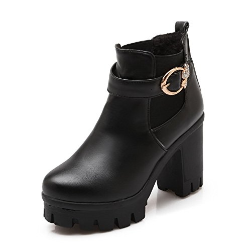 Round High WeenFashion high Black Boots Ankle PU Heels Women's Closed Toe Solid nYqp5RFwq