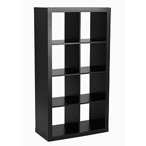 8 cube organizer storage bookcase in solid black kitchen dining. Black Bedroom Furniture Sets. Home Design Ideas