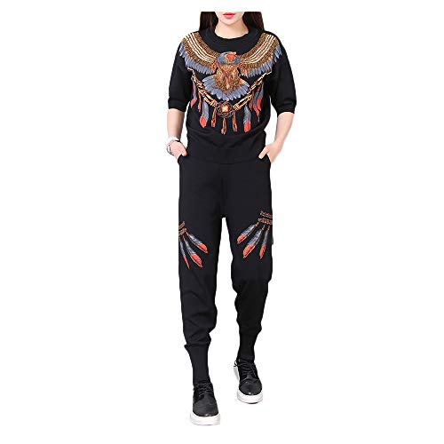 Heavy-Duty Printed Beaded Handmade Beaded Eagle Short-Sleeved Ice Silk Knit Suit (Color : Black, Size : Free Size) ()