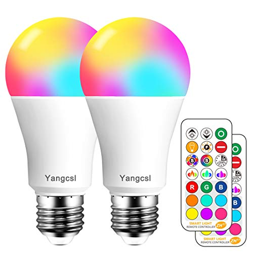 Yangcsl LED Light Bulb 75W Equivalent, RGB Color Changing Light Bulb, 6 Moods - Memory - Sync - Dimmable, A19 E26 Screw Base, Timing Remote Control Included (Pack of 2) (Colours That Go With Purple In A Bedroom)