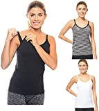3 Pack 3 Style Clip-down Double Opening Maternity Nursing Tank Top and Cami Shirts Clothes For Mother's Breast Feeding (3 Pack-Small Size) Multi Color