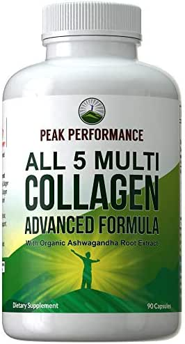 All 5 Multi-Collagen Capsules by Peak Performance. 90 Pills of Grass Fed Collagen Peptides Protein. with All 5 Collagen Types I, II, III,V, X. Grass Fed Beef, Fish, Chicken, Bone Broth Supplement