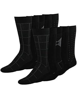 Men's Classics Dress Dashed Crew Socks, 10 Pair