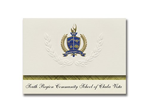 Signature Announcements South Region Community School of Chula Vista (National City, CA) Graduation Announcements, Presidential Basic Pack 25 w/Gold & Blue Foil -