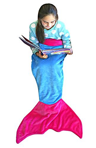 [Mermaid Tail Blanket for Kids Soft Plush Fleece Super Warm Cozy Fabric FREE Bonus e-Book Great Gift with 2 Color Choices by] (Car Wash Costume Ideas)
