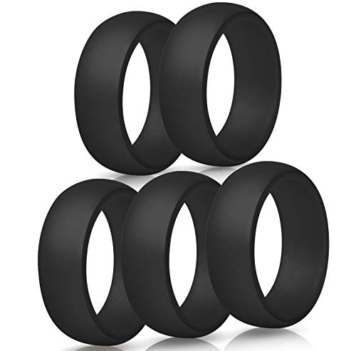 ThunderFit Mens Silicone Wedding Rings Wedding Bands - 5 Pack / 4 Pack / 3 Pack - 8.7mm Wide (2mm Thick) (5 Black Rings, 14.5-15 (23.82mm))