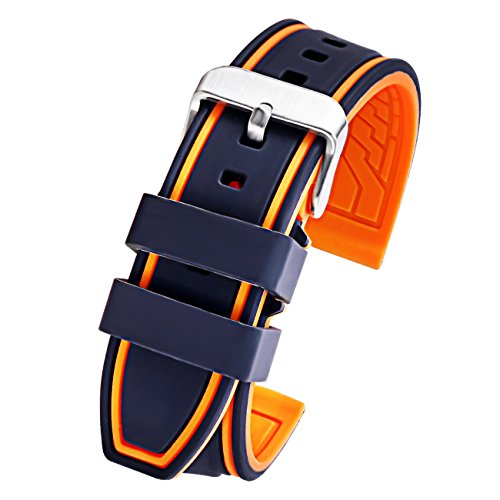 Silicone Watch Strap Replacement Sport Rubber Diver Watch Band Black Orange 22mm ()