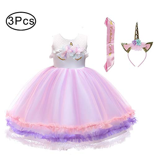 LZH Girl Unicorn Dress Birthday Christmas Party Cosplay Costume Dress 3PCS Hairband Pink Satin Sash]()