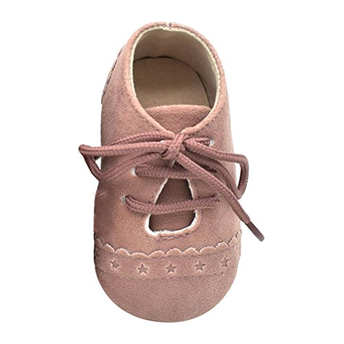 Fashion Leisure Cow Leather (Fabal Baby Toddler Shoes Sneaker Anti-slip Soft Sole Lace Up Shoes (12~18 Month, Pink))