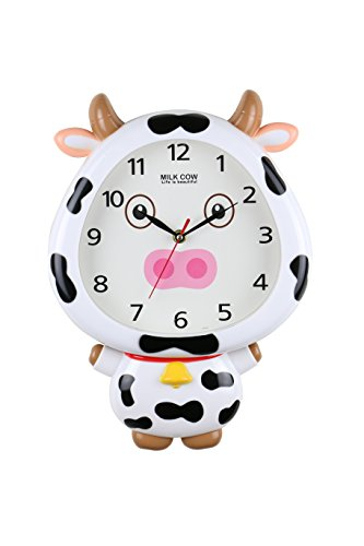 Milky Cow Interactive Wall Clock Movable Eyes Children's