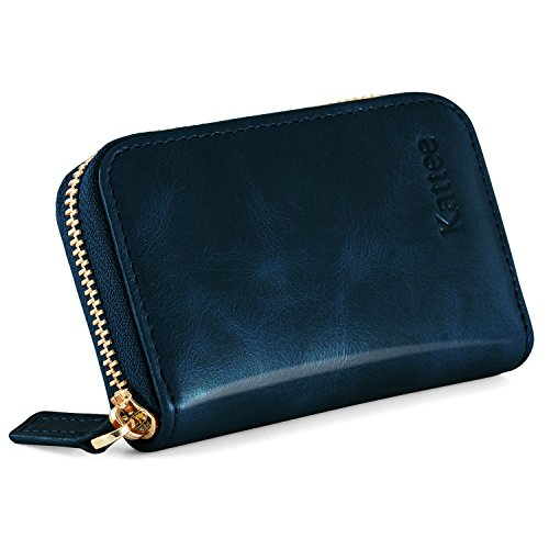 Kattee Leather Zip Around Wallet, Women's RFID Credit Card Small Wallet (Zip Card)