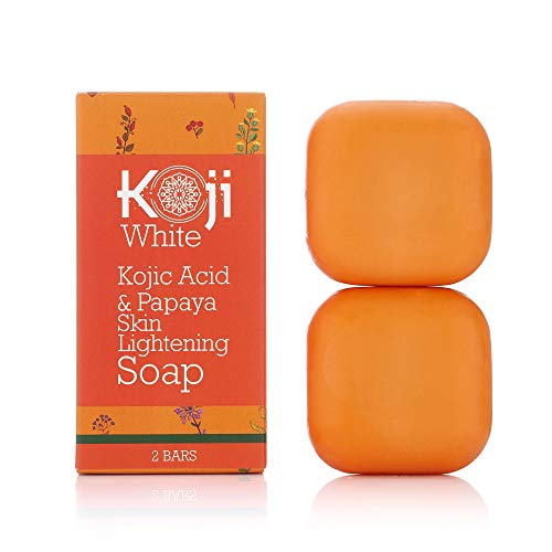 Kojic Acid & Papaya Skin Lightening Soap (2.82 oz / 2 Bars) - Natural Brightening with Hyaluronic Acid for Smooth Face & Body, Dark Spot Elimination for Freckles, Acne Scars, Uneven Skin Tone