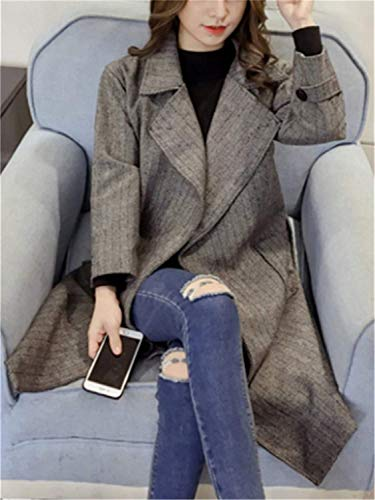 Espesar Larga Outwear Gris Battercake Manga Invierno Outerwear Solapa Oscuro Con De Mujeres Abiertas Hipster Casuales Bolsillos Windbreaker Mujer Gabardina Cinturón Delanteros qwtSv