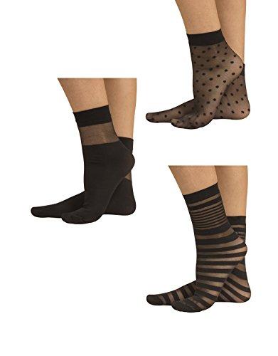 PACK 3 PAIRS WOMAN POP SOCKS   SHEER ANKLE SOCKS   20 DEN   SILK, BLACK   ITALIAN HOSIERY  