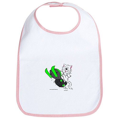 CafePress - Snowmobile Cat in Color Green Bib - Cute Cloth Baby Bib, Toddler Bib