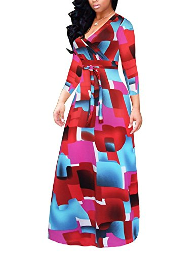 Naomiky Elegant Women's V Neck Long Sleeves Digital Graffiti Printed Prom Party Maxi Long Dress with -