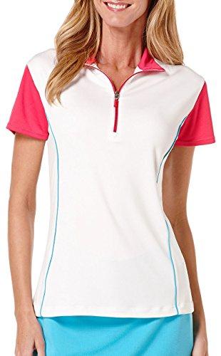PGA TOUR Women's Cap Sleeve Printed 1/4 Zip Mock Top, Bright White, Medium