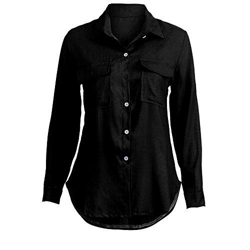 Femme Top Lin Chemisier Tunique Pullover Noir Manche LEvifun Tee Dames Sexy T Casual Shirt Mode Longue Automne Solide Hauts Shirt Chic Blouse Boutonns Chemise Poche Coton q0CT5