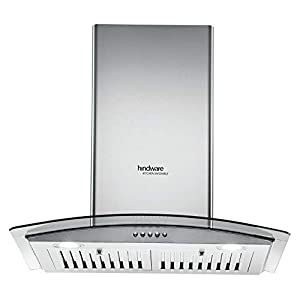 Hindware 60 cm 1100 m³/HR Curved Glass Kitchen Chimney (C100179, 1 Baffle Filter, Inox)
