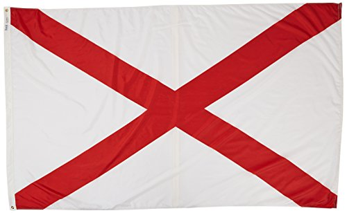 Annin Flagmakers Model 140080 Alabama State Flag Nylon SolarGuard NYL-Glo, 5x8 ft, 100% Made in USA to Official Design Specifications