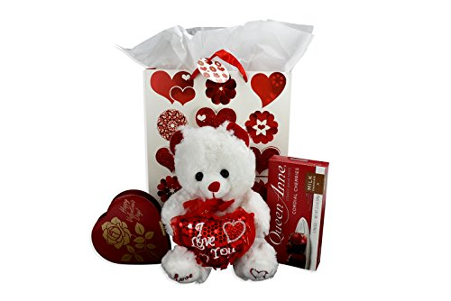 Deluxe Happy Valentines Day Bear  Gift Bag And Queen Anne Chocolate Cherries Bundle