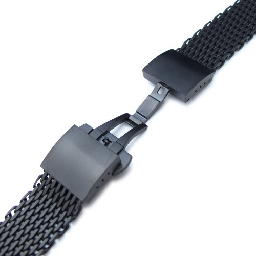 20mm Ploprof 316 SS Wire ''SHARK'' Mesh Milanese Watch Band, Dome Deployant, Black, BB by 20mm Mesh Band (Image #2)