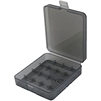 uxcell Clear Gray Plastic Battery Storage Box Container