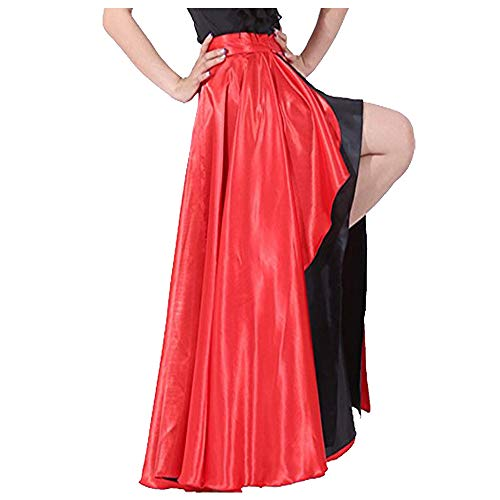 Spanish Bull Dance Skirt Adult Flamenco Two Layer Satin Gypsy Dress Red Outside/Black Inside