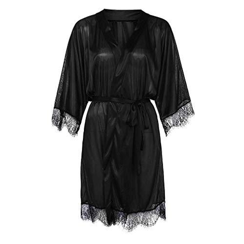 Femmes De Kimono Bessky En Sexy Soie Noir Satin Black Pour Lingerie qEq65wz