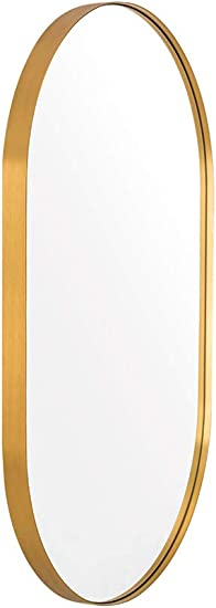 ANDY STAR Oval Gold Mirror, 20x33x1 Gold Metal Frame Oval Mirror for Bathroom, Hangs Horizontal or Vertical