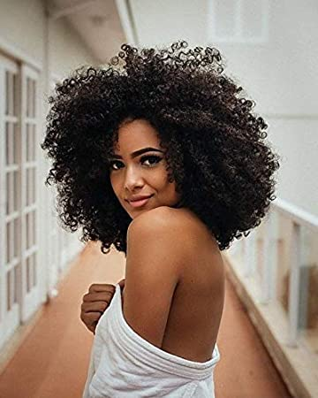 Ugeat 8inch Brazilian Short Afro Kinky Curly Hair Wigs for Black Women  Natural Black Color Fluffy Tight